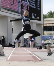 Mill Valley junior Emily Brigham matched her personal best with an 18-10 jump on her last attempt to win the girls long jump by a quarter-inch at the Kansas Relays on Saturday. Brigham is the first Jaguar athlete to win two events at Kansas Relays.