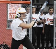 Bonner Springs' Cassady Holloway tied the second game of a doubleheader with Basehor-Linwood with an RBI single, but the Bobcats came back to earn a sweep of the Braves on April 26.