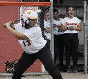 Bonner Springs' Geena Harris also pitched a tight game in the second of two against Basehor-Linwood on April 26.