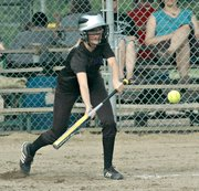 Morgan Drinnon lays down a bunt.