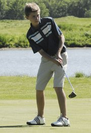 Mill Valley freshman Jack Cashburn shot an 82 at the Kaw Valley League golf tournament in Lawrence on Wednesday, May 9.