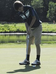 Mill Valley junior Quinn Jones shot an 85 at the Kaw Valley League golf tournament on Wednesday, May 9 in Lawrence.