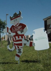The Dairy Days cow in front of the Basehor Snap Fitness center along U.S. Highway 24-40 resembles Richard Simmons.