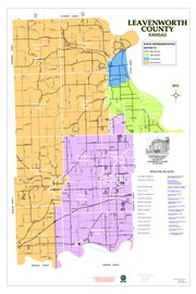 A map of the new State House districts in Leavenworth County, with the 38th District in purple, the 40th in green, the 41st in blue and the 42nd in orange.