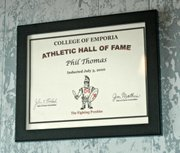 After high school, Thomas pitched for the College of Emporia, where he led the Fighting Presbies to a combined 21-1 record in two seasons. He was inducted into the school's athletic hall of fame in 2010.