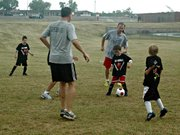 Campers got to square off against their parents on the final day of camp. The kids won by a goal.