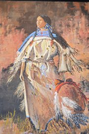 &quot;Warrior&#39;s Widow,&quot; a painting of a Lakota Sioux woman, is one of Berry&#39;s favorites.