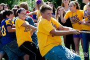Students participate in a tug-of-war competition.