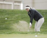 Basehor-Linwood junior Candice Jennings works out of the rough on Thursday at the Basehor-Linwood Invitational at Falcon Lakes.