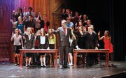 "There's courtroom drama in ""Legally Blonde The Musical."" In the first row, from left to right, are Kealie o'Brien, Chylie Hopkins, Allie Pluff, Marlena Pierce, Kassandra Valles, Joel Steelman, Elizabeth James, Austin Skibbie and Chelsea Turner. In the second row, from left to right, are Marie Webb, Fuad Turkmani, Sky Cowdry, Matt Mahr, Kennedy Carter and Victoria Kee. In the third row, from left to right, are Christian Sylvester, Hunter Hawkins, Aleesha Gonzabez, Cory Goodburn, Jacob Frisbie and Kennedy Carter."