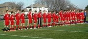 Players line up for introductions prior to the state championship match against Hayden.