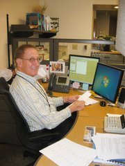Retiree Terry Clark volunteers in the city clerk's office