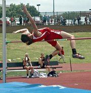 Jenny Whitledge clears the bar at the 2012 state track and field championships. Whitledge and fellow Chieftain Haley Griffin swept the top two spots in the high jump.