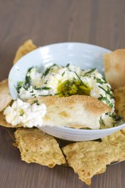 Homemade Crackers with Buttermilk Ricotta Cheese Dip make a simple but special snack for an impromptu party.