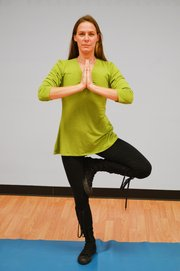 Faith Glenn began leading Hatha yoga classes last month at the Mill Creek Activity Center in Shawnee.
