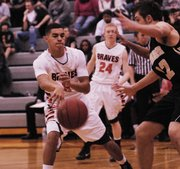 BSHS junior Jordan Jackson scored four points in the Braves' 36-30 win against Bishop Ward on Friday, Feb. 1.