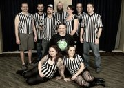 Matthew Gurley, at center wearing the black T-shirt, is pictured with the other 2013 Dead Girl Derby referees.