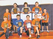 The Bonner Springs Wrestling Club placed 22nd out of 164 teams on Saturday at the Kansas State Wrestling Folkstyle Tournament in Topeka. Pictured from back row, left to right: Branden Martin, Trai Warburton, D.J. Ballard, T.J. Williams and Brandin Andrew. Front Row: Derek Duffett, Jackson McArthur, Ethan Witzke and Cruz Lara. Not pictured: Les Wessel.