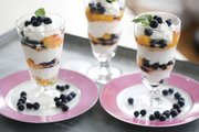 Blueberry-peach mousse parfaits are easy enough for kids to help make them for a Mother's Day treat.
