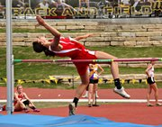 Recent Tonganoxie High grad Jenny Whitledge won her third state high jump title in Saturday, making her the school's first-ever three-time state champion.