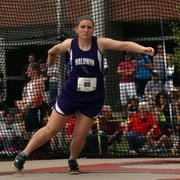 Baldwin senior Katie Kehl lets go one of her throws in the 4A discus competition in Wichita. She won the event, and teammate Alexia Stein finished fourth.