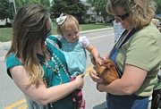Avery Rosenow, 2, pets a chicken held by Janet Falk at the Tonganoxie Days petting zoo.