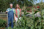 Richard Brown and Cheryl Hanback in their garden.