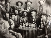 "This group of men at a Monticello saloon in the late 1850s includes James Butler ""Wild Bill"" Hicock, seated third from right. His first job as a lawman was in Monticello."