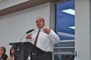 Dan Brungardt, USD 204's new superintendent, speaks at the 2013 Mayor's Banquet Friday.