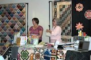Barb Eikmeier, left, and Thomas recently gave a presentation at the Basehor Community Library focusing on advancements in the quilting industry.