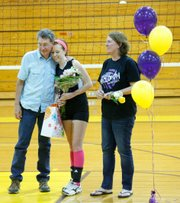 Baylee Brown was one of two seniors honored in a ceremony between matches.