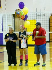 Konner Patterson was one of two seniors honored in a ceremony between matches.