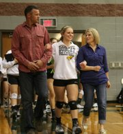 Allison Heinen was one of two seniors honored Tuesday before Basehor-Linwood's match against Piper.