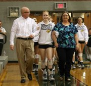 Hailey Robinson was one of two seniors honored Tuesday before Basehor-Linwood's match against Piper.