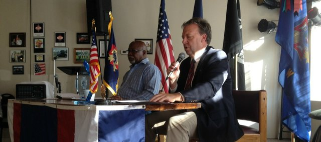 State Sen. Tom Holland, D-Baldwin City, and Rep. Willie Dove, R-Bonner Springs, met Basehor residents Saturday morning at the VFW and fielded questions from concerned residents about two key issues — education and state taxes.