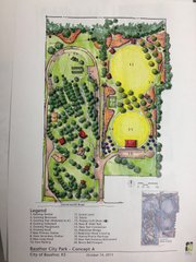 A conceptual design for the future expansion of Basehor City Park. This version includes a frisbee golf course, tennis court, new eight-foot wide trail, and several new park shelters.