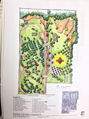 A conceptual design of the future expansion of Basehor City Park. This version includes a playground, bocceball/croquet field, tennis court, several new park shelters and a nine-hole frisbee golf course.