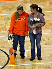 Manager Erin Walters was one of three seniors honored in a ceremony before Tuesday's match.