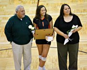 Mariah Seifert was one of three seniors honored in a ceremony before Tuesday's match.