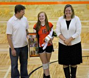 Shelby Mata was one of three seniors honored in a ceremony before Tuesday's match.