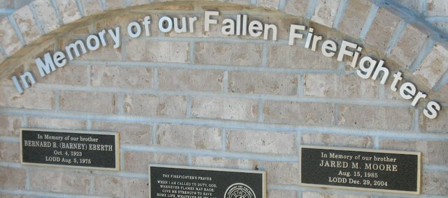 The new memorial for two Fairmount Township Fire Department firefighters, Bernard Eberth and Jared Moore, who died while responding to past Basehor fires.