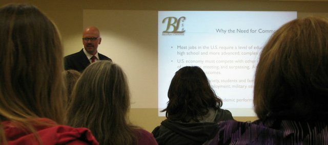 Basehor-Linwood Superintendent David Howard speaks to parents at a Common Core Standards event at the Basehor Community Library on Oct. 30