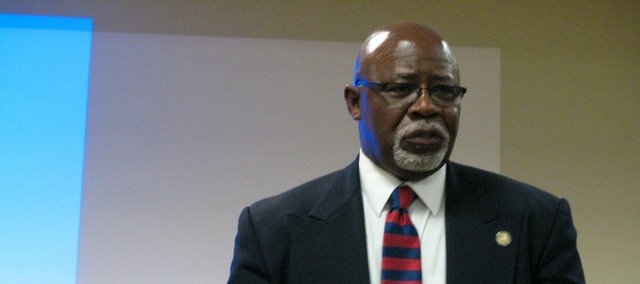 Rep. Willie Dove, R-Bonner Springs, speaks at Basehor Community Library on Dec. 11.