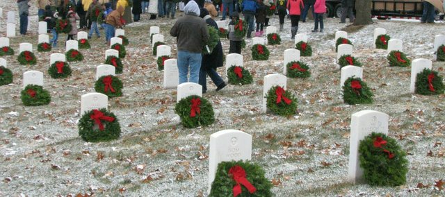 More than 1,100 wreaths were placed at the Leavenworth National Cemetery on Saturday as part of the Wreaths Across America event.