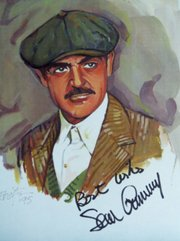 This watercolor portrait of Sean Connery was painted by Kansas University Film Professor John Tibbetts. Tibbetts' work will be on display at the Kansas City Central Library branch this month.
