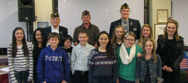 The winners of this year's Patriot Pen contest and Voice of Democracy Contest. Each were awarded with a certificate and a cash prize from the Basehor VFW Post.