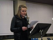 Jade Province reads her Voice of Democracy essay Thursday night at the Basehor VFW.