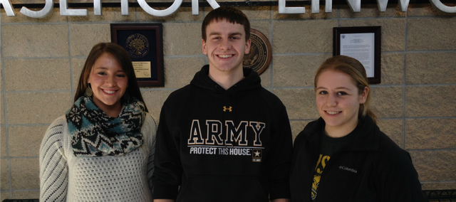 (From left) Basehor-Linwood High School seniors Kayleigh Schoenfelder, Mark Vitt and Katie Eberth are three of the students who have begun a key collection drive in Basehor for the Ronald McDonald House of Kansas City.