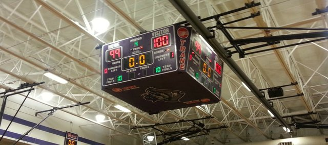 A final look at the scoreboard Monday night at Piper High School. BLHS won 100-99 after a 2OT thriller.