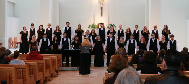 The Basehor-Linwood High School Mixed Chorus performed Sunday at Holy Angels Catholic Church in preparation for their trip to Wichita.